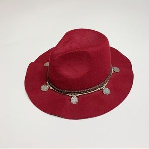 Free People | Burgundy Floppy Coin Boho Hat